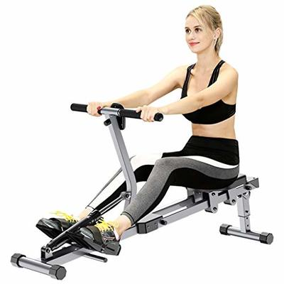 Rowing Machines Household 12-speed Resistance Whole Body Indoor Fitness (Color : Silver, Size : 142 * 48 * 30cm)
