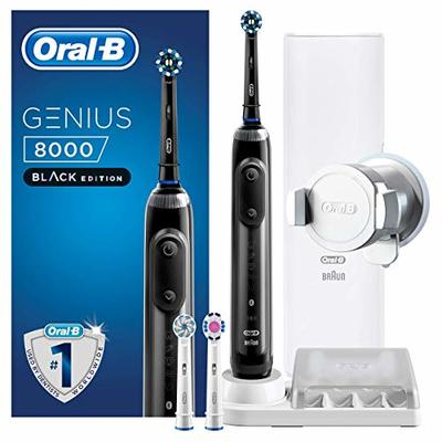 Oral-B Genius 8000 CrossAction Electric Toothbrush, 1 Black App Connected Handle, 5 Modes with Sensitive and Gum Care, Pressure Sensor, 3 Brush Heads, Travel Case, 2 Pin UK Plug, Father's Day Gift