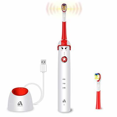 Sonic Electric Toothbrush for Kids and Teenagers, Cartoon Design, Proalpha Wireless USB Fast Charging Waterproof Toothbrush with 2 Reminder Heads, 3 Modes with Timer, Mode Memory