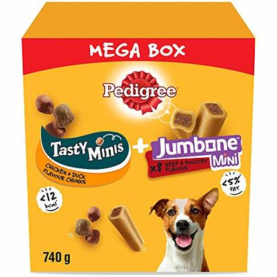 Pedigree Mega Box – Dog Treat Multipack with 3 Tasty Minis Chicken and Duck Flavour and 8 Jumbone Mini Beef and Poultry Flavour, 740 g