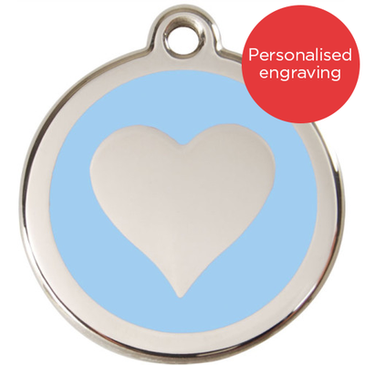 Red Dingo Dog ID Tag Stainless Steel & Enamel Heart Light Blue