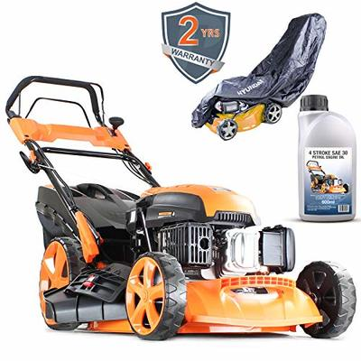 P1 Powered by Hyundai Petrol Lawnmowers Self Propelled Push Button Electric Start 21 Inch 51 Centimetre Cutting Width 173cc, Steel Deck Included 600ml Engine Oil & Rain Cover P5100SPE