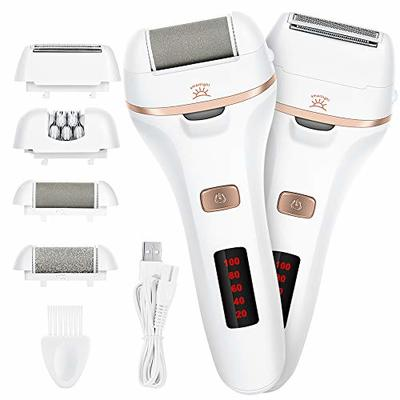 Electric Foot File,TEAMYO Waterproof Hard Skin Remover Rechargeable Lady Shaver,Wet and Dry Painless Womens Razor Bikini Trimmer with 4 Heads 2 Speeds,Callus Remover Foot Pedicure Tool with LED Light