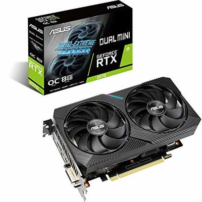 ASUS Dual GeForce RTX 2070 MINI OC Edition 8GB GDDR6  Gaming Graphics Card with Two Powerful Axial-tech fans for small cases (DUAL-RTX2070-O8G-MINI)