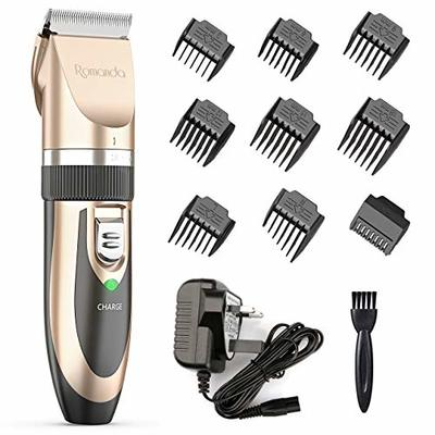 Hair Clippers Men,Romanda Cordless Hair Clippers Low Noise Mens Hair Clippers Rechargeable Electric Hair Cutting Machine for Men with 9 Combs for Men Kids and Family Use