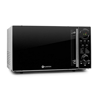 Klarstein Luminance Prime – Microwave, Combination device, 20 litre, Microwave oven with grilling function, 700 W microwave power, 900 W grill power, Stainless steel, Black-Silver
