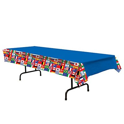 A Beistle Creation International Flag Tablecover Blue, Red, White, Green, Yellow 54″x108″