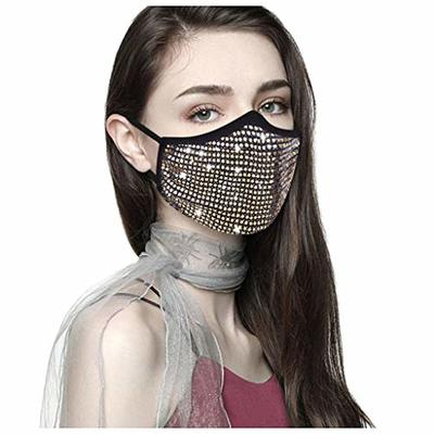 Bylater 1/4 PC Reusable Halloween Masquerade Faux Rhinestone Crystals Face Balaclavas for Women (Gold1)