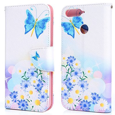 Huawei Y6 2018 Case, Honor 7A Cover, Shockproof Flip PU Leather Wallet Case with Kickstand ID Card Slots Magnetic Clasp Folio Notebook Protection Cover for Huawei Y6 2018 / Honor 7A Butterfly Daisy