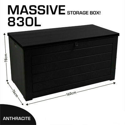 Extra Large 830L Outdoor Garden Storage Box Plastic Utility Chest