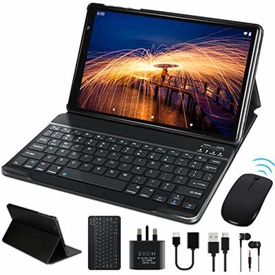 10″ Tablet Android 9.0 FACETEL Q3, 4GB RAM 64GB ROM Tablet PC 1280*800 IPS HD Display, 5MP+8MP Camera, GMS-Certified, Battery 8000mAh   Bluetooth   WiFi   FM, Tablet with Keyboard and Mouse – Black