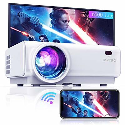 TOPTRO Mini WiFi Bluetooth Projector,Upgraded 6000 Lumen Wireless Mirroring Projector,1080P&200″Supported,Portable Home Theater Projector,Compatible with TV Stick/TVbox/Smartphone/PC/Laptop/PS4