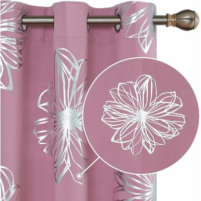 Deconovo Foil Print Floral Thermal Insulated Window Blackout Top Grommet Curtain