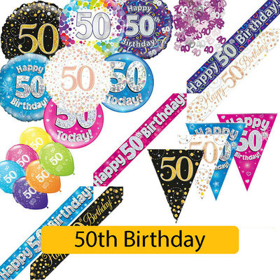 AGE 50 – Happy 50th Birthday Party Decorations (Oaktree) Banners & Bunting