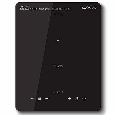 COOKPAD 2000W Induction Hob, Portable Induction Cooker, Electric Cooktop, Single Burner Cooker, Ceramic Glass with LED Display, Sensor Touch Control, Black