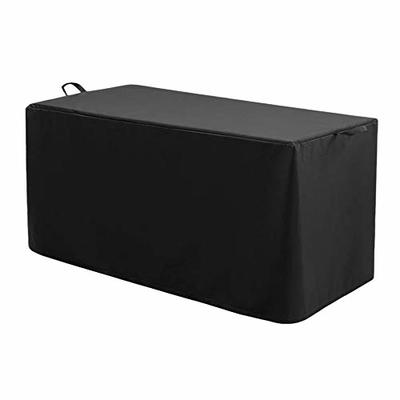 Patio Deck Box Cover, Heavy Duty Waterproof Fabric Outdoor Storage Box Cover to Protect Large Deck Boxes, Anti-UV Dust-proof Deck Box Cover 52In Black
