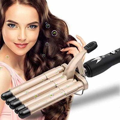 Hair Curler, 5 Barrels Wand Hair Waver Curling Iron for Long Or Short Hair Professional Curling Wand Temperature Adjustable Heat Up Quickly Hot Tools (Gold)