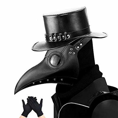 kungfu Mall Plague Doctor Mask Gothic Cosplay Retro Steampunk Props Bird Mask and Black Party Gloves for Halloween Costume Props