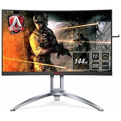AOC AGON AG273QCX 27 Inch Curved VA LED QHD (2560 x 1440) HDR 400 Freesync 144Hz Gaming monitor with Built-in speakers. (VGA, HDMI x 2, DisplayPort x 2, USB 3.0 x 4) – Black/Red