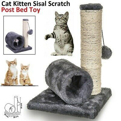 Pet Cat Kitten Play Sisal Scratch Bed Toy Fun Post With Tunnel Pet Activity UK