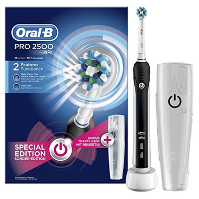 Oral-B PRO 2500Cross action electric toothbrush, rechargeable, gift pack, black edition.