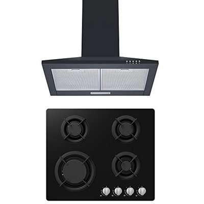 Gas-on-Glass Hob & Hood Pack | Cookology Gas-on-Glass Hob & CH600BK 60cm Chimney Cooker Hood Pack in Black