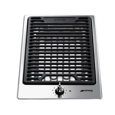 Smeg PGF30B Lava Stone Grill Domino Classic Stainless Steel