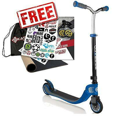 Globber Flow 125 Childrens Complete Foldable Scooter – Black / Navy Blue