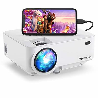 """Mini Projector ,TOPVISION Projector 4500 Lumens HD 1080P 180"""" Display Supported,60,000 hrs with Screen Mirroring Portable Projector,Compatible With Fire,Stick,HDMI,VGA,USB,TV,Laptop,DVD"""
