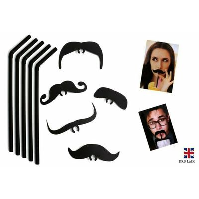 Black Straws Black Moustache Top Fun Drink Accessory Hen Party StagDo P619016UK