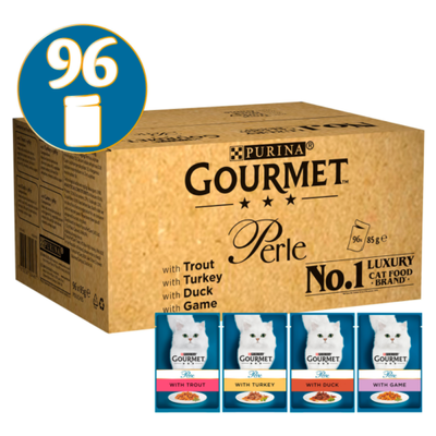 Gourmet Perle Country Medley In Jelly Wet Cat Food Pouches – 96 x 85g